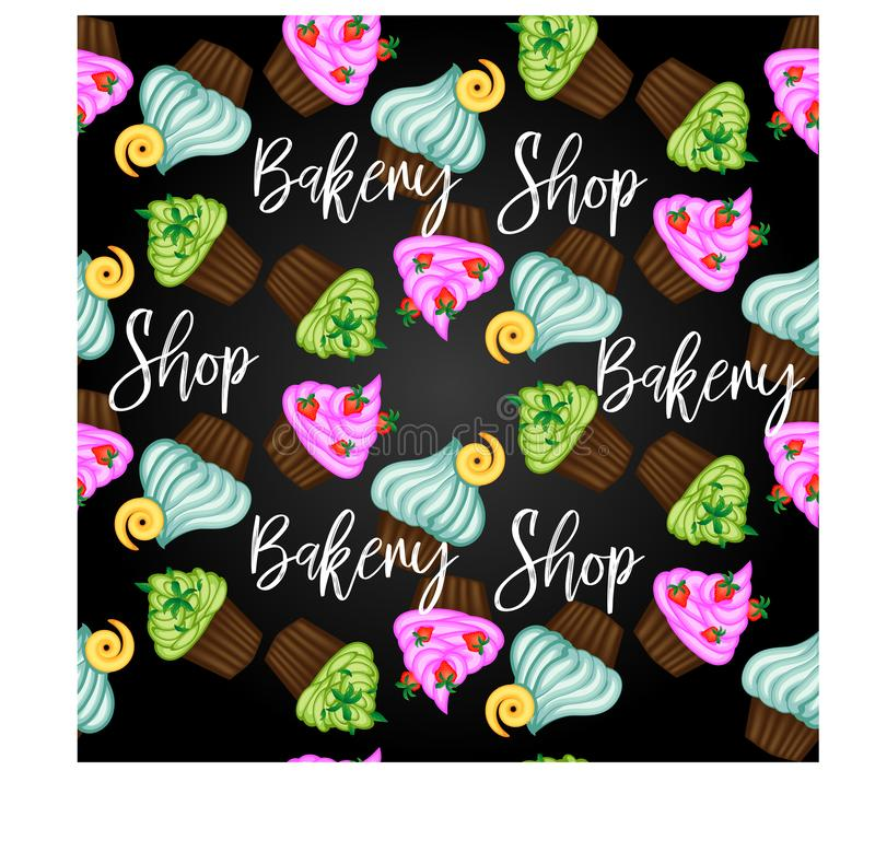 Muffin oder Kuchen mit Sahne und Kirsche Farbige flache Illustration lokalisiert auf weißem Hintergrund mit Weinleseaufschrift lizenzfreie abbildung