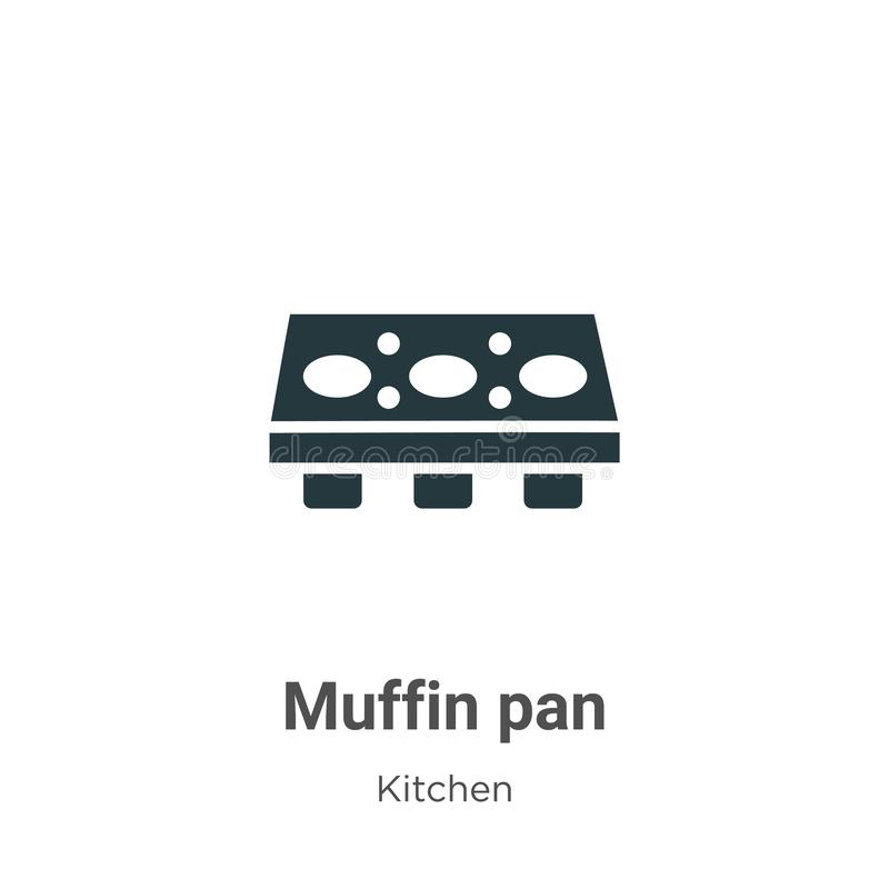 Muffin pan vector icon on white background. Flat vector muffin pan icon symbol sign from modern kitchen collection for mobile royalty free illustration