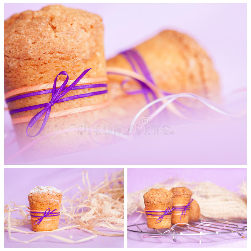 Muffin with purple ribbon. collage royalty free stock image