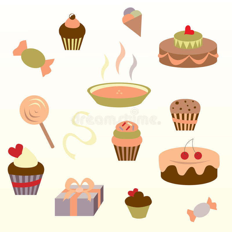Download Muffin set stock illustration. Illustration of cake, cookies - 31983404