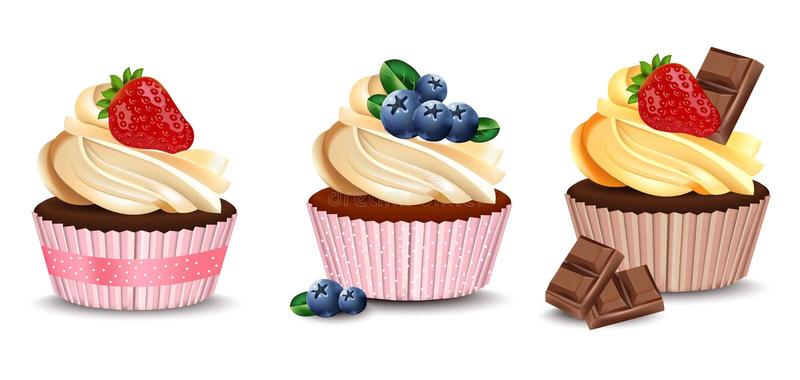 Muffin som isoleras på en vit bakgrund Realistisk efterrätt för vektor Läckra fester för sommar royaltyfri illustrationer