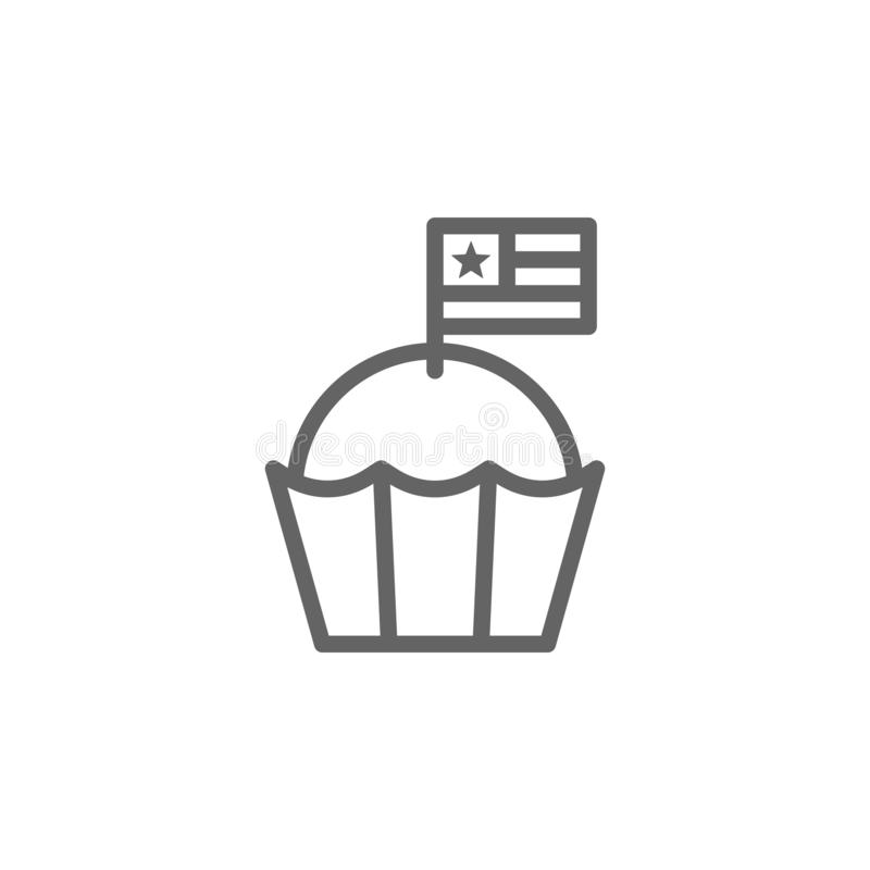 Muffin, USA icon. Element of 4th of july icon. Thin line icon for website design and development, app development. Premium icon. On white background vector illustration