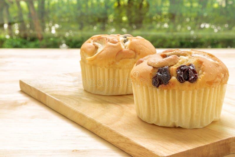 Muffin voor Theepauze/Muffin voor Theepauzeachtergrond stock foto