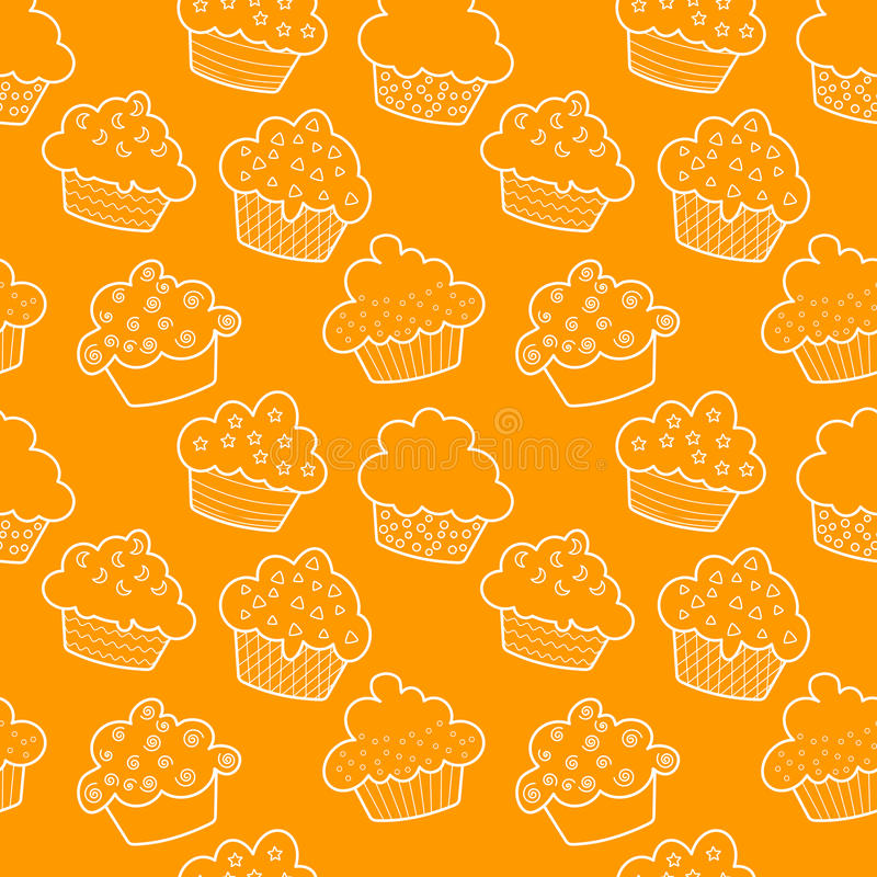 muffiner skisserade seamless vektor illustrationer