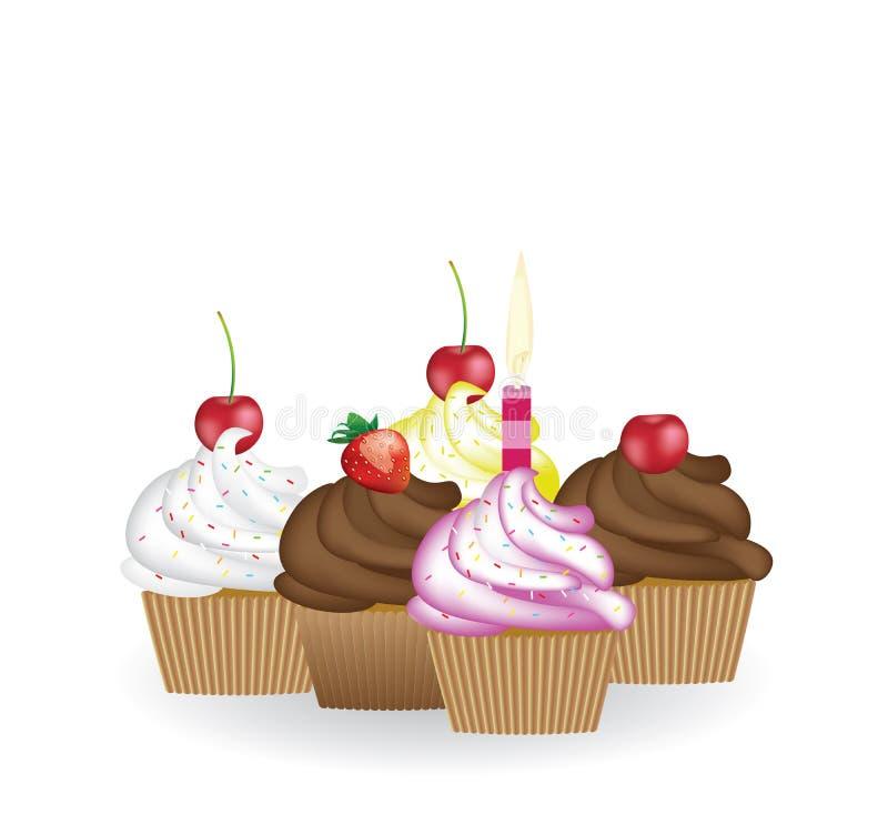 Muffinfödelsedaguppsättning, vektor vektor illustrationer