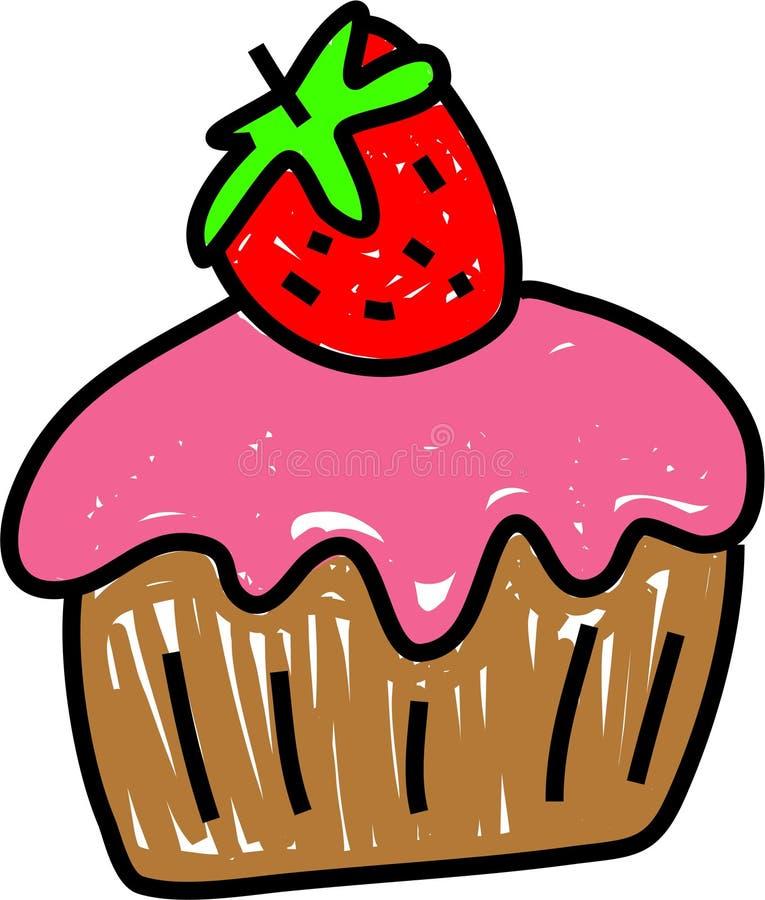 muffinjordgubbe royaltyfri illustrationer