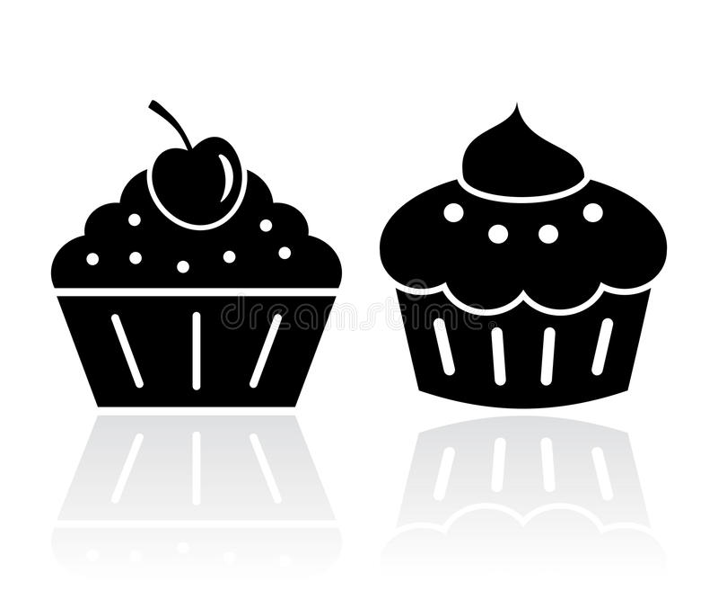 Muffinkakaillustrationer stock illustrationer