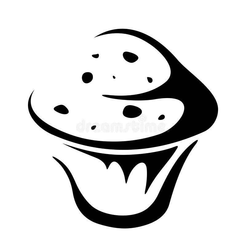 Muffinkuchen Vektorschwarzes Schattenbild stock abbildung
