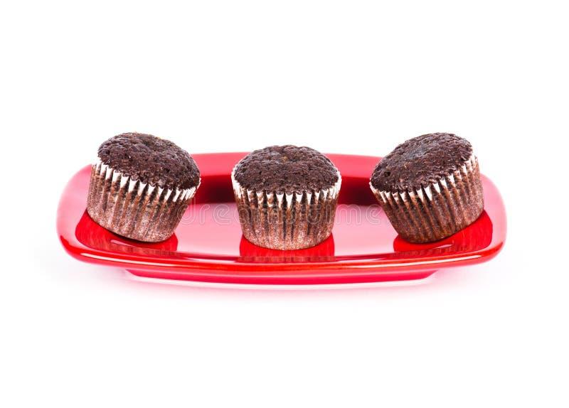 Muffins σοκολάτας στο πιάτο στοκ φωτογραφία