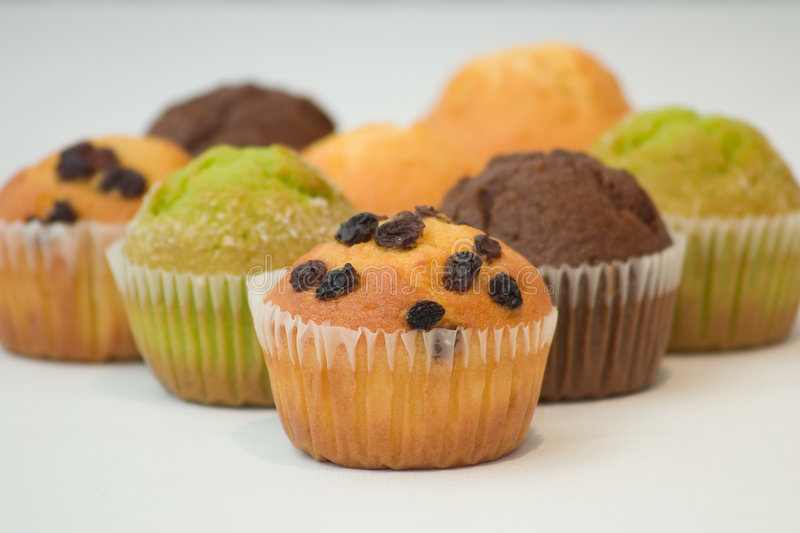 Muffins. Assorted Colourful muffins stock photo