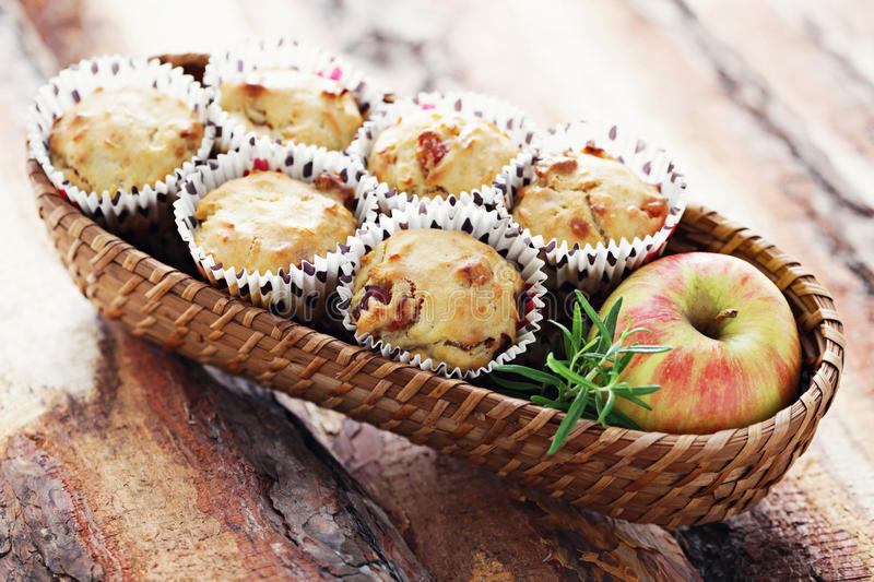 Muffins with becon and apple royalty free stock images