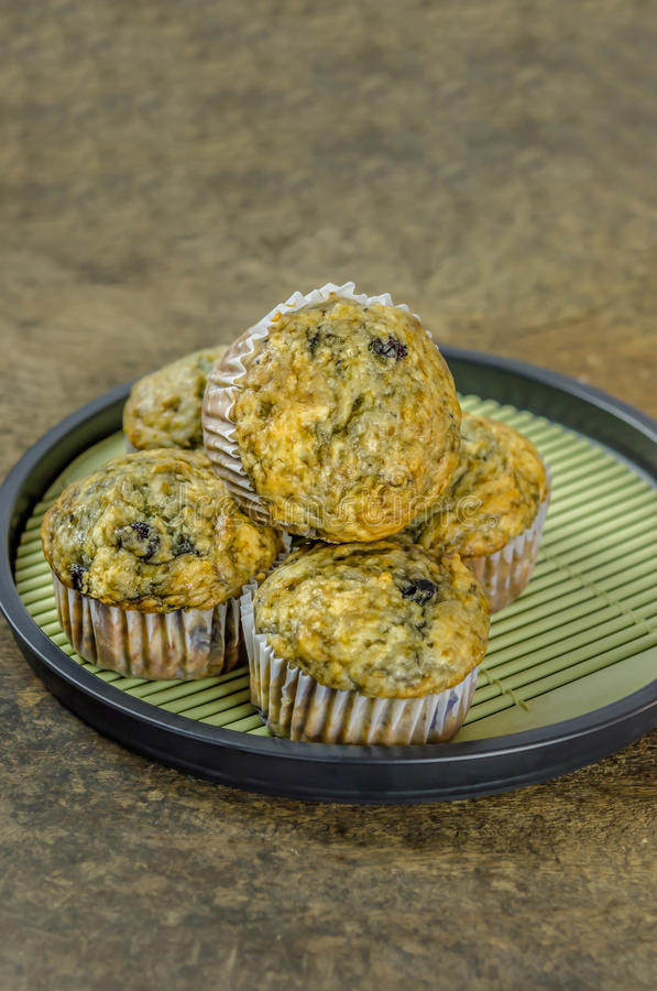 Muffins with blueberries stock image