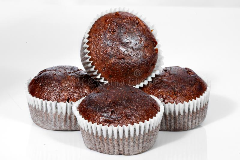 Muffins, Chocolade cupcakes stock foto