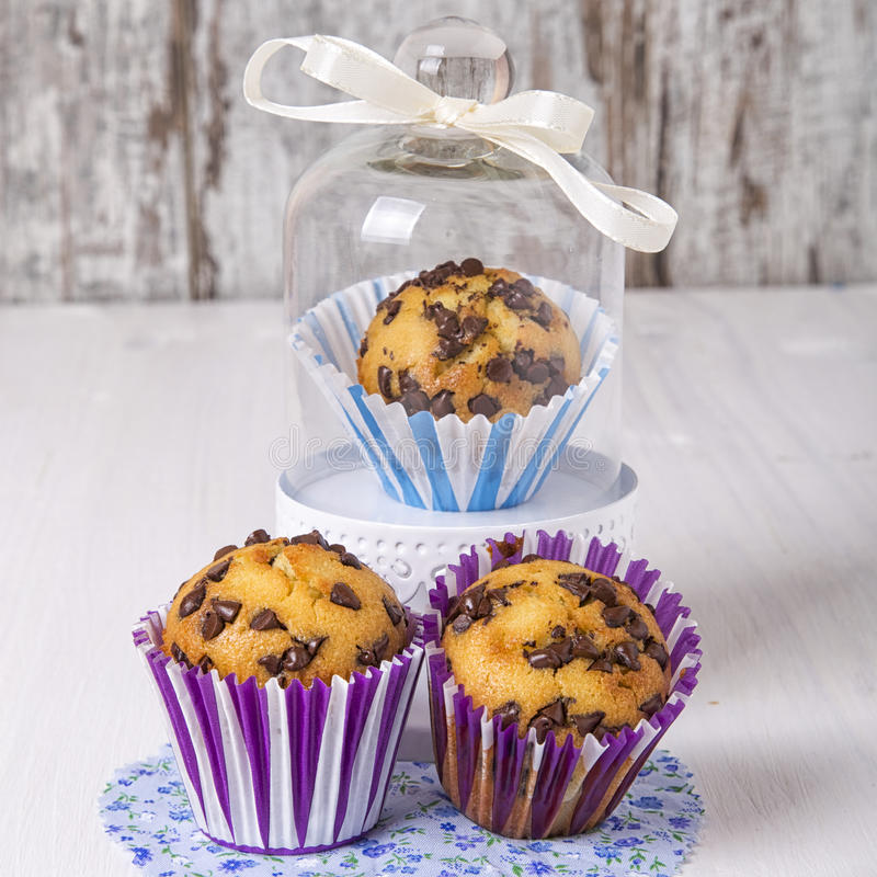 Muffins. With chocolate chips on backsplash Provencal style stock photography