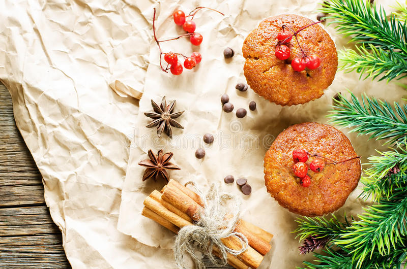 Muffins with cinnamon and chocolate drops. Muffins with cinnamon and chocolate chips on a light woody background. tinting. selective focus on the middle of the stock photo