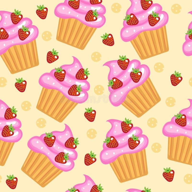 Muffins, cupcakes naadloze textuur Heerlijke Cakeachtergrond Baby, Jonge geitjesbehang en textiel Vectorillyustration vector illustratie