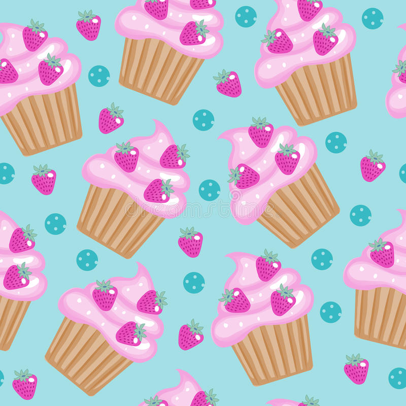 Muffins, cupcakes seamless pattern. Delicious Cake background, texture. Baby, Kids wallpaper. Vector illustration. Muffins, cupcakes seamless pattern. Delicious stock illustration