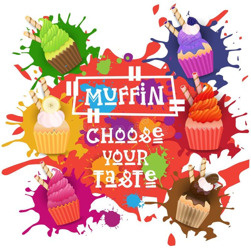 Muffins eingestellte bunte Nachtisch-Sammlung wählen Ihr Geschmack-Café-Plakat lizenzfreie abbildung