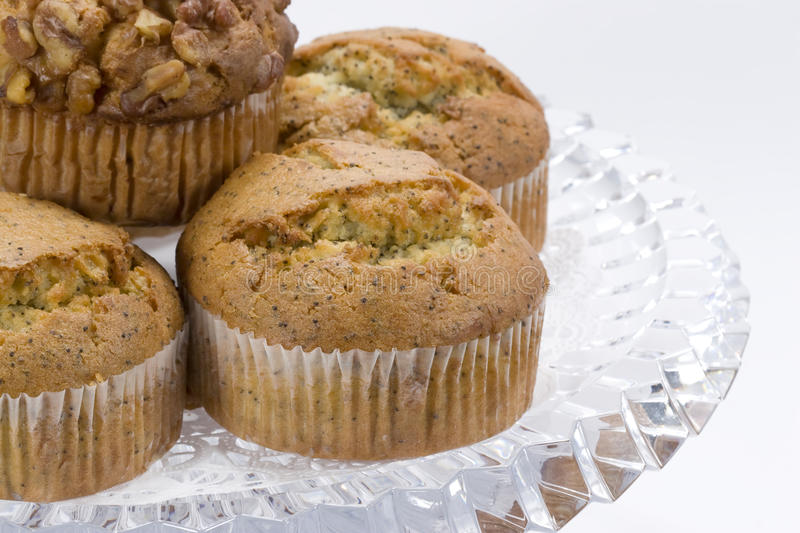 Muffins on Glass Plate stock photography