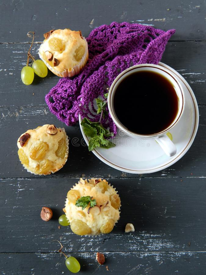 Download Muffins with grapes stock photo. Image of meal, breakfast - 26596690