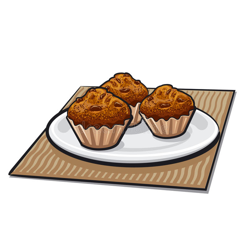 Muffins. Illustration of muffins on a plate stock illustration