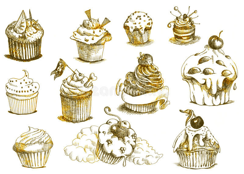 Muffins - kleine Kuchen stock abbildung