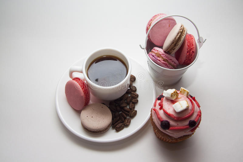 Muffins and maarons on coffee plate. Delicious cupcakes with various topping, photo with copy space and contrast lightning royalty free stock images