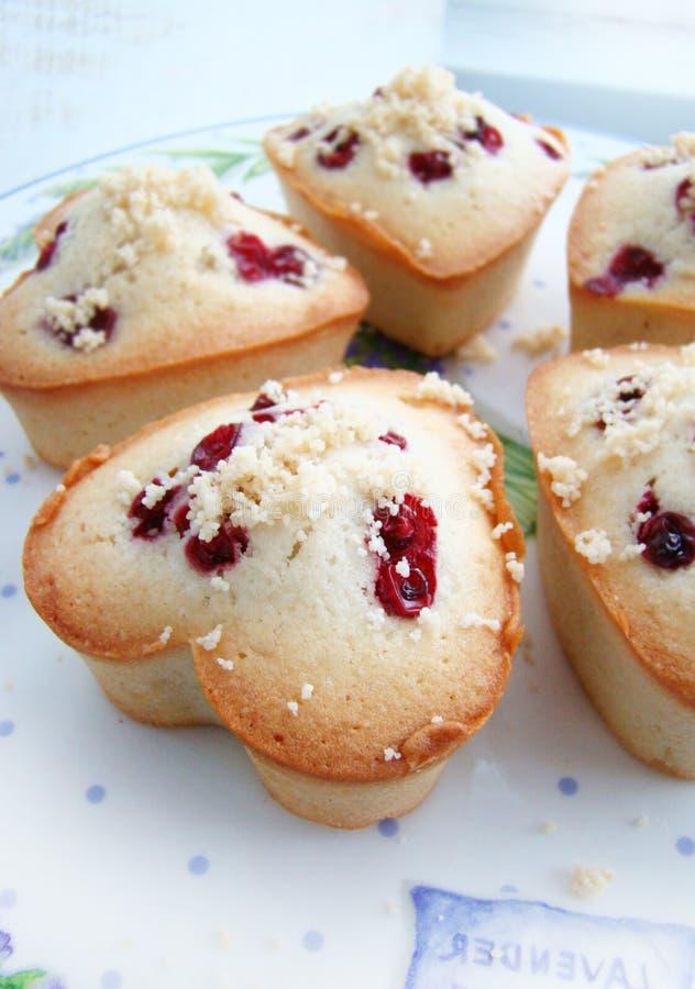 Muffins mit Moosbeeren und Mandeln und suga lizenzfreie stockfotos