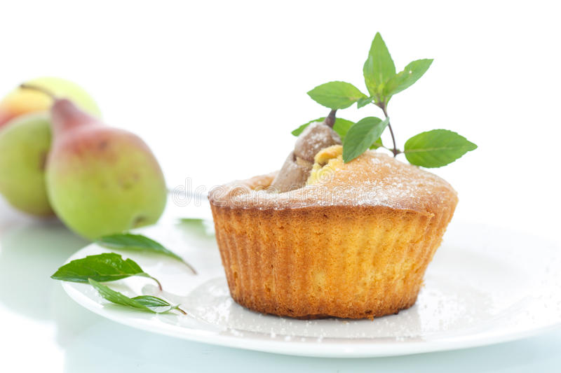 Muffins with pear royalty free stock photo