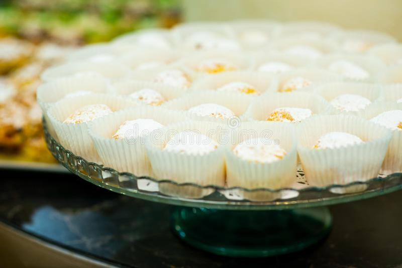 Muffins on a tray stock image