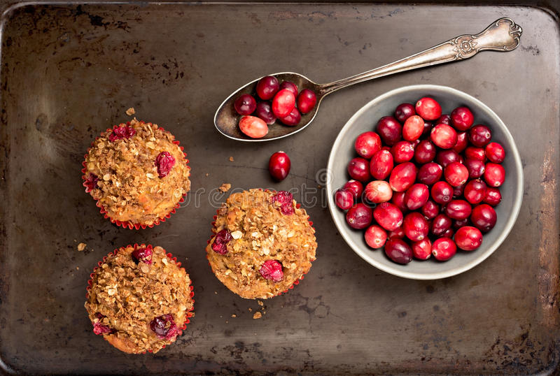 Muffins und Moosbeeren lizenzfreies stockfoto