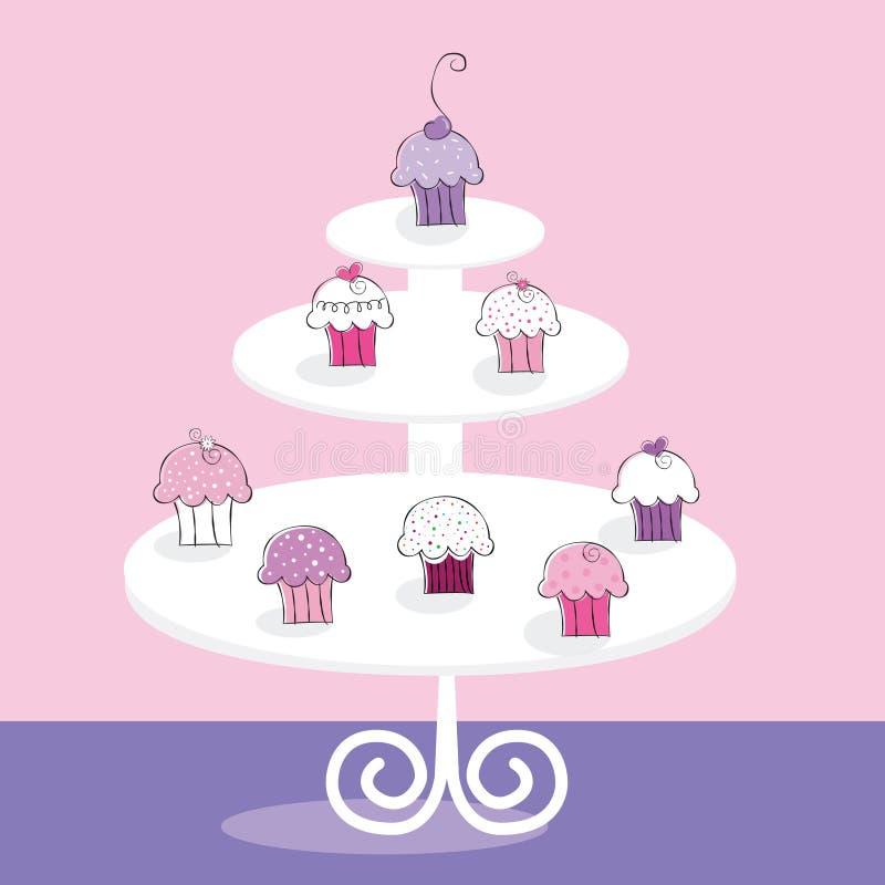 Muffinställning stock illustrationer