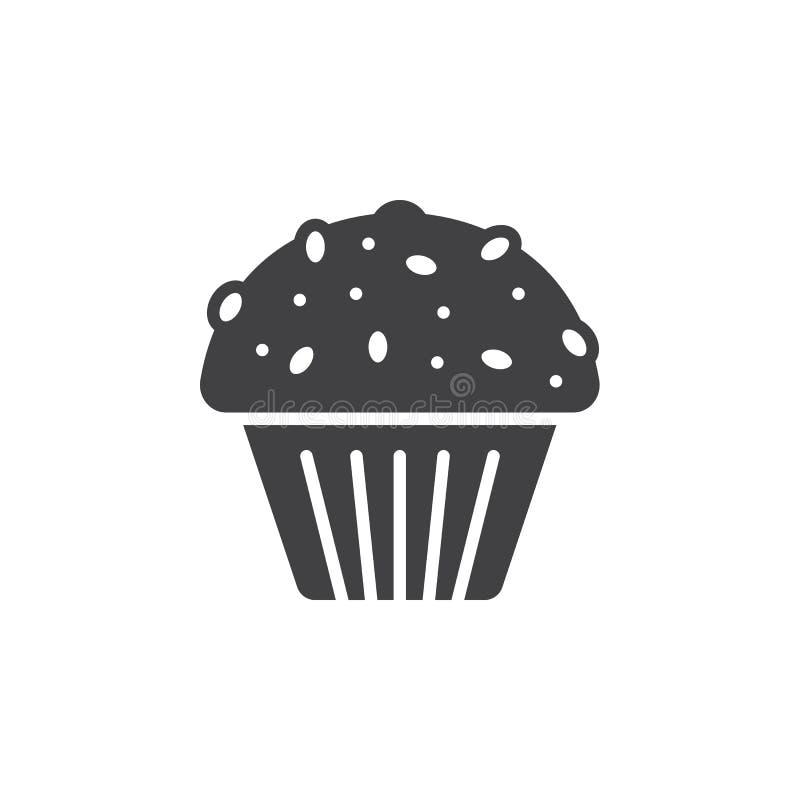 Muffinsymbolsvektor, fyllt plant tecken, fast pictogram som isoleras på vit vektor illustrationer