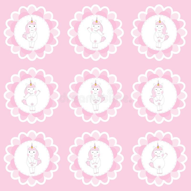 Muffintopperuppsättning med den gulliga enhörningflickan på rosa bakgrund för ungefödelsedagparti stock illustrationer