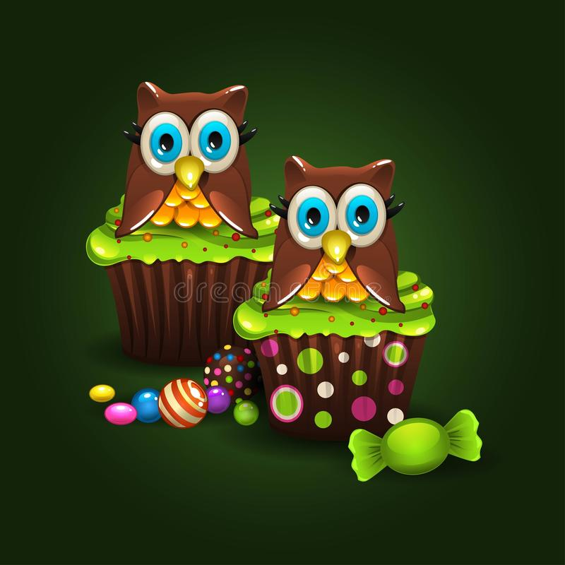 Muffinuggla stock illustrationer