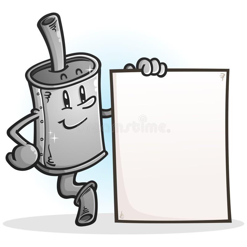 Muffler postać z kreskówki Trzyma Pustego znaka ilustracji