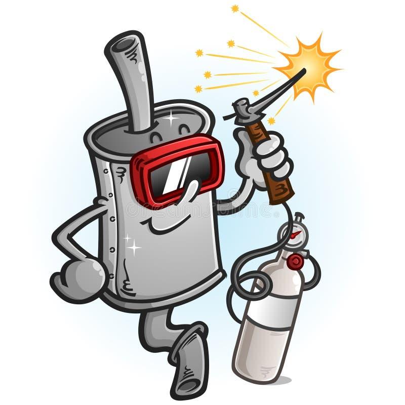 Muffler postaci z kreskówki Spawalniczy metal ilustracji