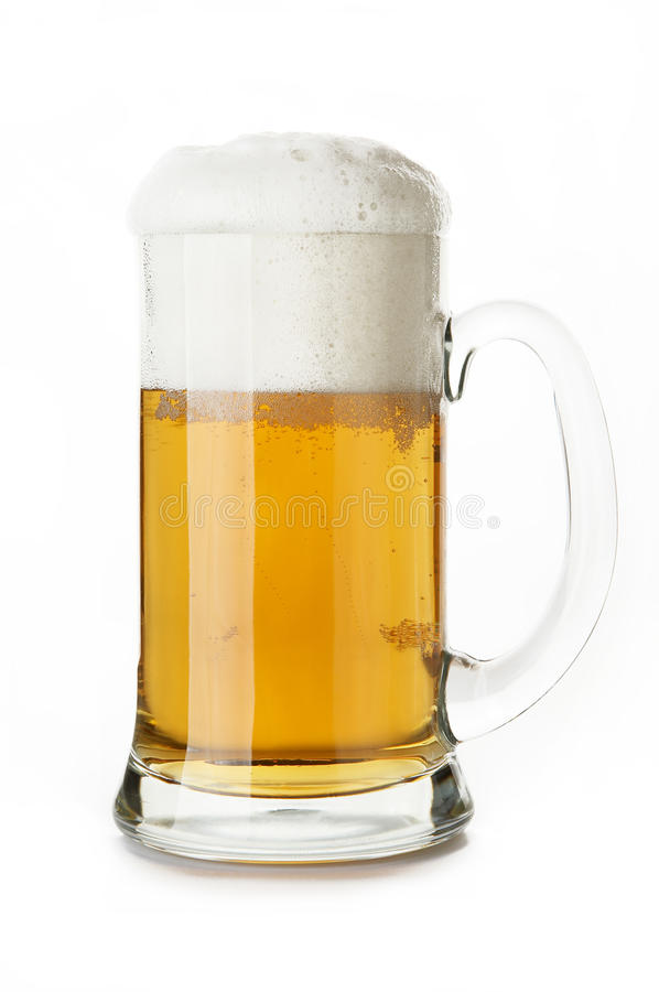 Mug of beer. Close-up in white background stock photography