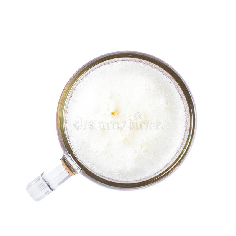 Mug of beer with bubble on glass isolated on white background. Top view stock photo