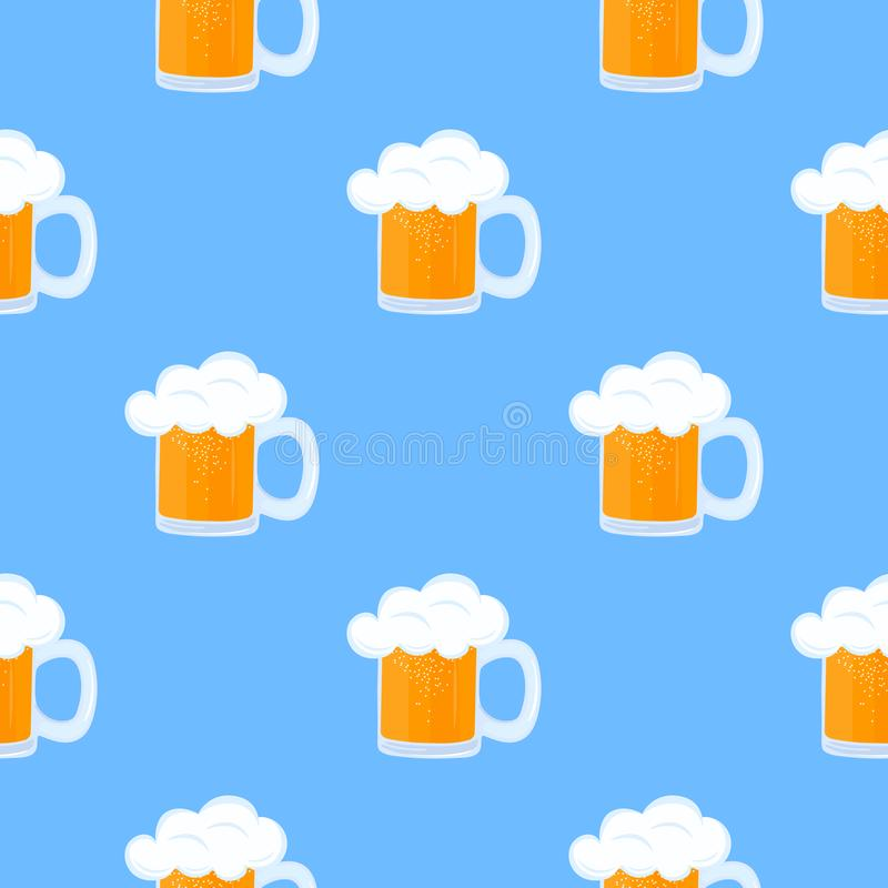 Mug of beer with foam. Oktoberfest Seamless Pattern.  vector illustration
