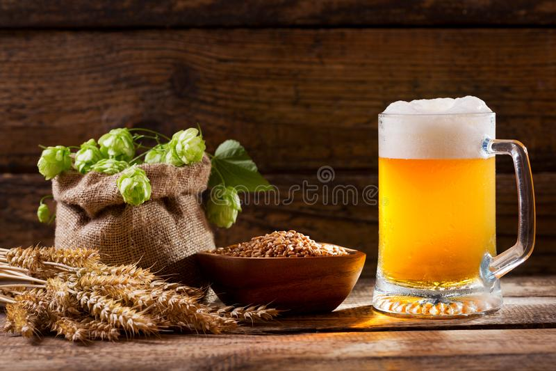 Mug of beer with green hops, wheat ears and grains stock photos