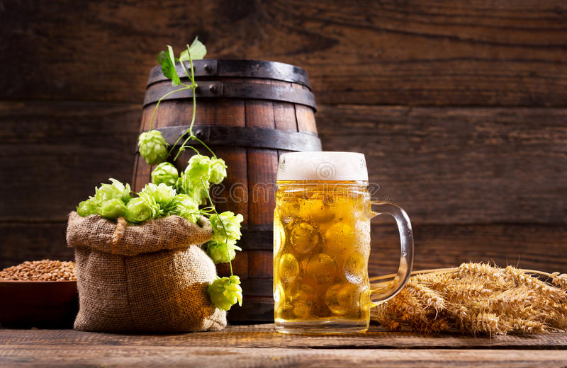 Mug of beer with green hops and wheat ears stock photos