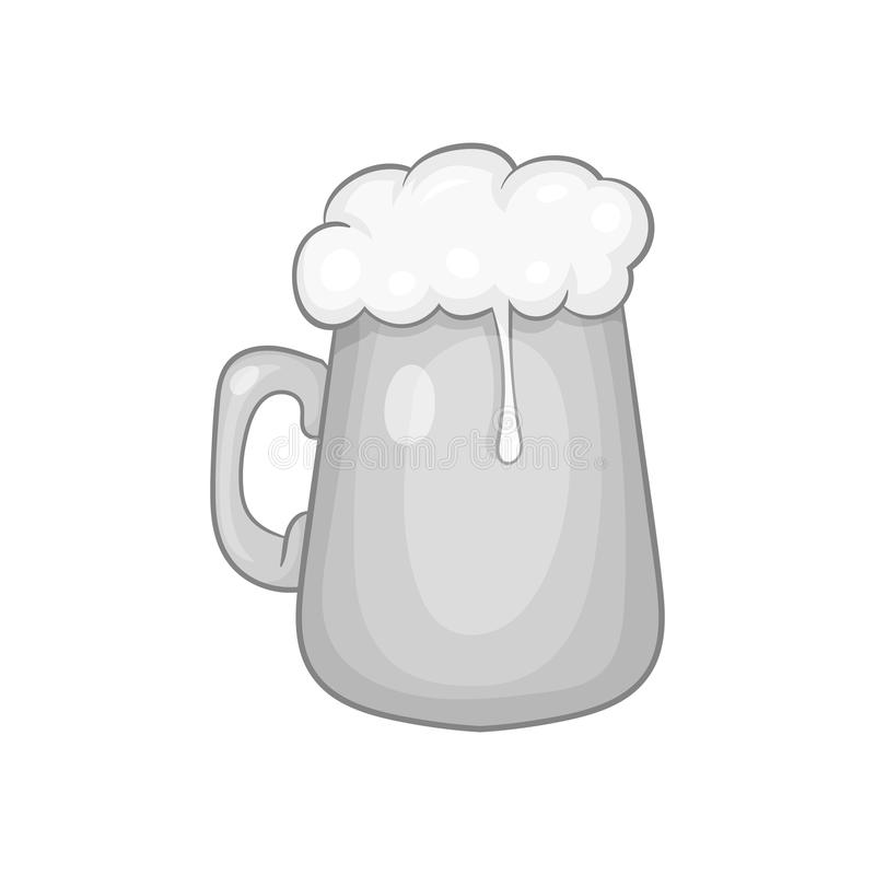 Mug with beer icon, black monochrome style. Mug with beer icon in black monochrome style isolated on white background. Dishes and drink symbol vector stock illustration