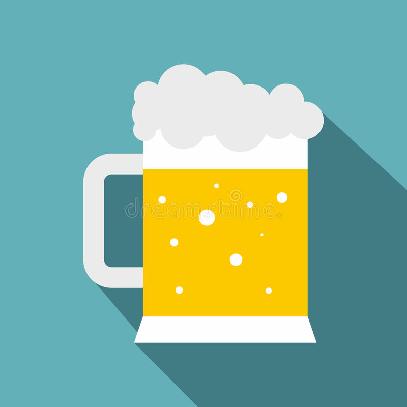 Mug of beer icon, flat style vector illustration