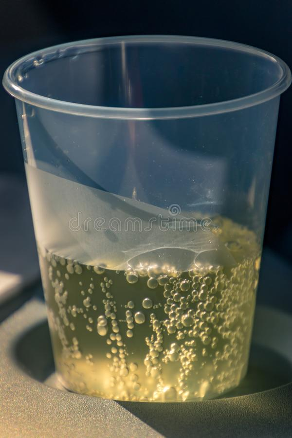 Mug with champagne in the plane royalty free stock image