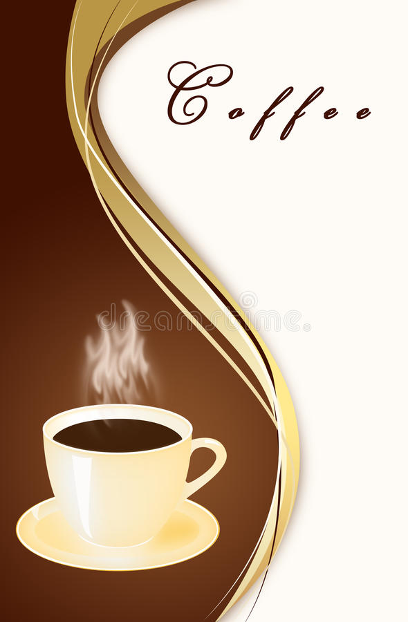 Mug of coffee on an abstract background stock illustration