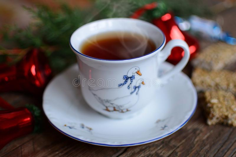 Tea time. Coffee, music & evening -best friends royalty free stock image