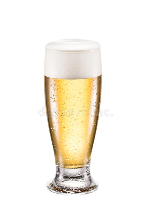 Mug of cold beer. Close up view of mug of cold beer isolated on white stock image