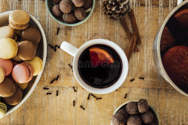 Mulled Wine Flat Lay royalty free stock photos