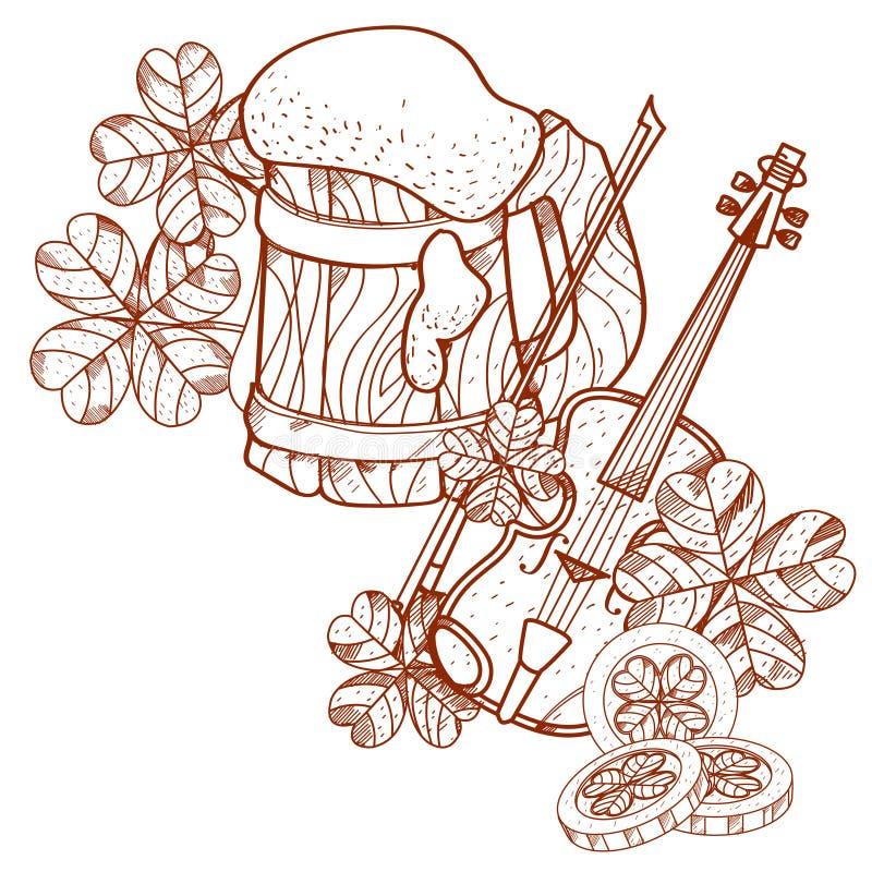 Mug foamy beer, violin. Mug foamy beer and violin vector illustration